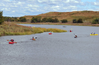 Photo of Kayakers at Freshkills Park site Photo provided by NYC Parks. New York City Parks.