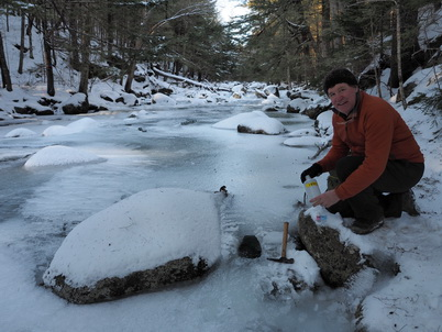 Photo of Scott Bailey collecting a sample. Scott W. Bailey, U.S. Department of Agriculture Forest Service.