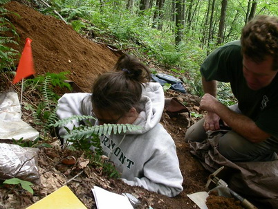 Photo of Sampling forest soil at Equinox Preservation Trust, Vermont. Rick LaDue, Equinox Preservation Trust.