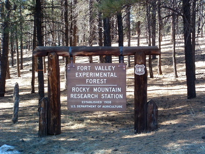 Photo of Sign at entrance of Fort Valley Experimental Forest where this research occurred. U.S. Department of Agriculture Forest Service.