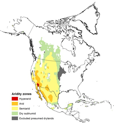 First global assessment of drylands research highlights us map showing the drylands of north america us department of agriculture forest service gumiabroncs Gallery