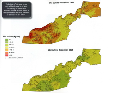 Photo of Wet sulfate deposition in high-elevation southern Appalachian watersheds has decreased over time. U.S. Department of Agriculture Forest Service.