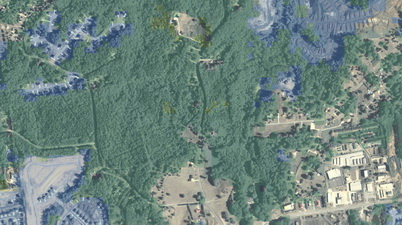 Photo of In this aerial photo of land near Hiram, Georgia, tree cover as of 2012 is shown in transparent green; tree cover loss from 2000 to 2012 is shown in transparent blue. U.S. Department of Agriculture National Agriculture Imagery Program.