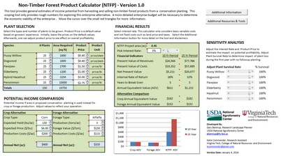 Photo of Screen capture of the NTFP Calculator. Gary Bentrup, U.S. Department of Agriculture National Agroforestry Center.