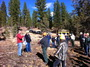 Photo of Forest Service staff and the Lakeview Stewardship Group discuss post treatment monitoring in the West Drews project area in the Fremont-Winema National Forest, Oregon. Eric White, U.S. Department of Agriculture Forest Service.