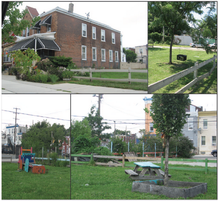 Photo of Photos of human uses of cleaned and greened vacant lots.