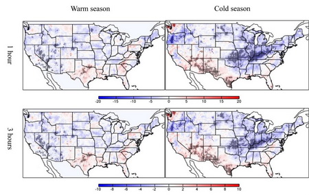 Photo of Figure 1. Anomalous numbers of warm- and cold-season extreme precipitation events with different durations typically occurring during El Nino episodes. The dotted areas indicate statistically significant anomalies.   Figure 2.  Same as Figure 1 except for El Nino Modoki episodes. Xindi Bian, USDA Forest Service