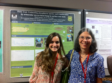 Photo of Undergraduate student Mareli Sanchez and her Forest Service mentor D. Jean Lodge in front of the award winning poster presented by Sanchez at the Mycological Society of America Meeting in Athens, Georgia.