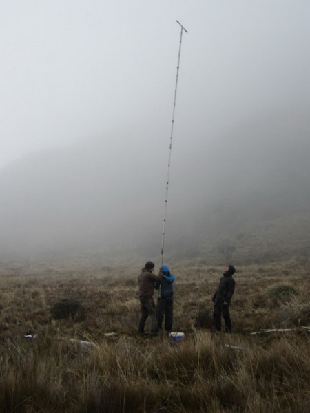 Photo of 1. USFS and Michigan Tech scientists sampling peat in the mountains of Ecuador. The height of the peat corer indicates the depth of the peat. John Hribljan, Michigan Technological University 2. Map of peatlands in the mountains of Ecuador, using the improved peatland mapping methods. These methods will be useful around the globe.
