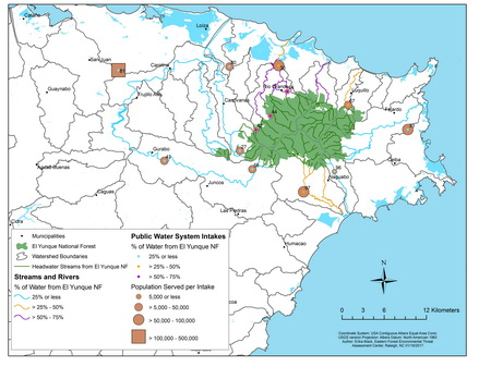 Photo of Municipalities and populations served by water originating on the El Yunque National Forest in Puerto Rico.