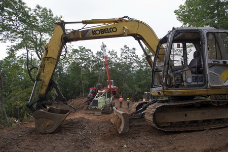 Photo of Construction machines in theNorth Mills Area, Pisgah Ranger District, Pisgah National Forest, NC.