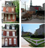 Photos of remediated buildings and vacant lots.
