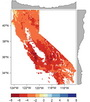 Photo of Spatial patterns in self- calibrating Palmer Drought Severity Index (scPDSI) in 2014 across California. The gray area denotes trends in scPDSI with latitude and longitude. Negative values indicate drier conditions.