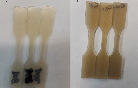 Photo of 1) Schematic of lactic acid grafting on polylactic acid (PLA) 2) Image of composites made with modified cellulose nanofibrils (CNFs) (left) and unmodified CNFs (right)