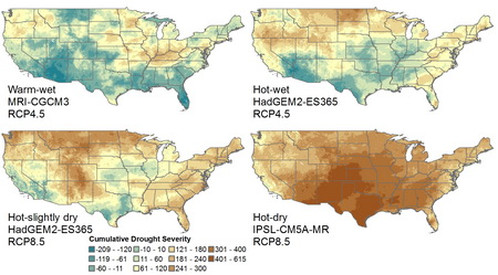 Photo of Figure legend: These maps depict change in an index of drought severity for the period 2070-2099 under multiple climate scenarios. The maps show a large variationin potential drought throughout much of the conterminous US, mostly because of high uncertainty in future precipitation. Based on data from the RPA 2020 Assessment, the 'warm wet' figure represents a scenario with increased precipitation and less warming resulting from a relatively rapid reduction of greenhouse gases so that emissions peak ~2040. The 'hot-wet' scenario, also with rapid reduction of greenhouse gases, is wet but hot. The 'hot-slightly dry' scenario assumes continued current emissions levels for much of this century and is hot with slightly less precipitation, while the 'hot-dry' scenario is both dry and hot, resulting in the most severe drought conditions.