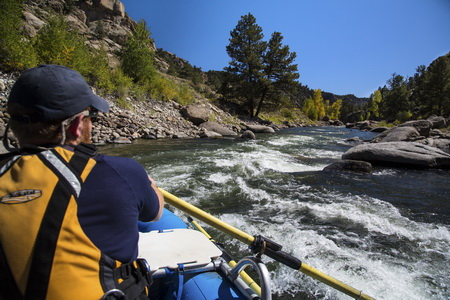 Photo of Whitewater rafting on the Arkansas River in Browns Canyon National Monument, Colorado.