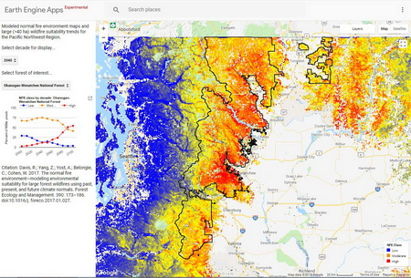 Photo of A screen capture from an interactive time series mapping tool showing the normal fire environment projected for 2040 in the Okanogan-Wenatchee National Forest. Blue areas are projected to have low suitably for fires larger than 100 acres, yellow indicates moderate suitability, and red indicates environments that are likely to be highly suitable to large fires.