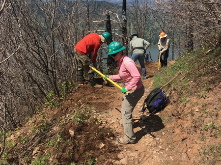Photo of Trained volunteers with Trailkeepers of Oregon work to restore a trailin the Columbia River Gorge National Scenic Area that was damaged by the 2017 Eagle Creek Fire.