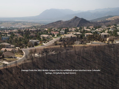 Photo of Damage from the Waldo Canyon Fire in a wildland-urban interface near Colorado Springs, CO.