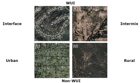 Photo of Aerial images depicting degrees of wildland-urban interface.