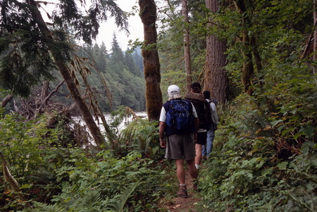 Photo of Hikers along the Sauk River in the Mount Baker-Snoqualmie National Forest, Washington.