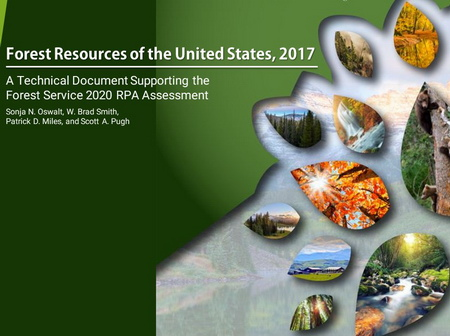 Photo of Report cover image for the Forest Resources of the United States, 2017.