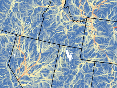 Photo of Thismap depicts climate corridors – potential movement routes between current climate types and where those climates will occur in the future – for the western United States.