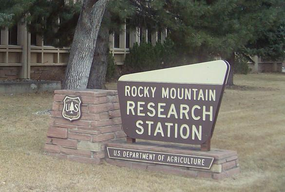 Sign outside the Rocky Mountain Research Station headquarters.