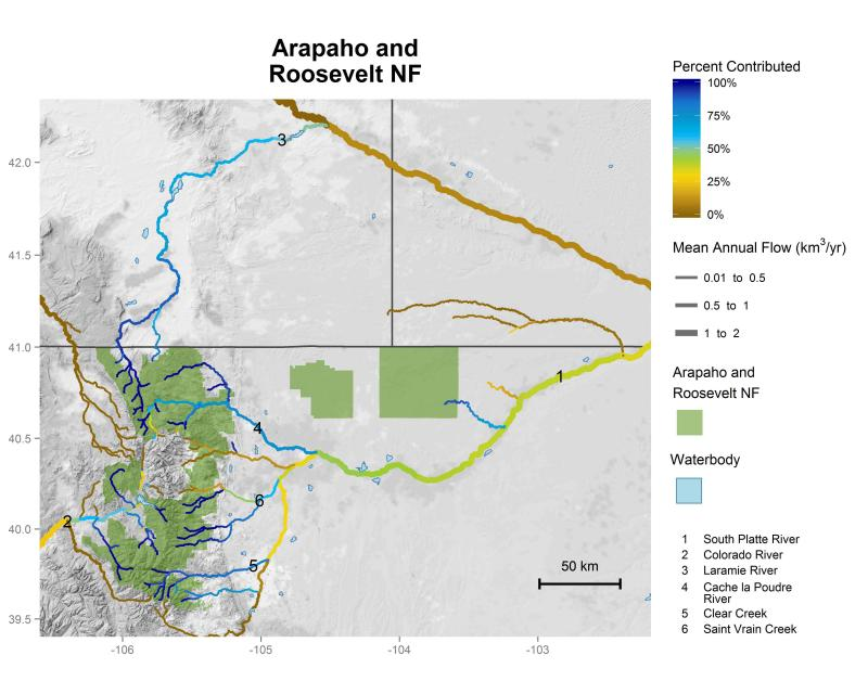 Arapaho and Roosevelt National Forests streamflow contributions