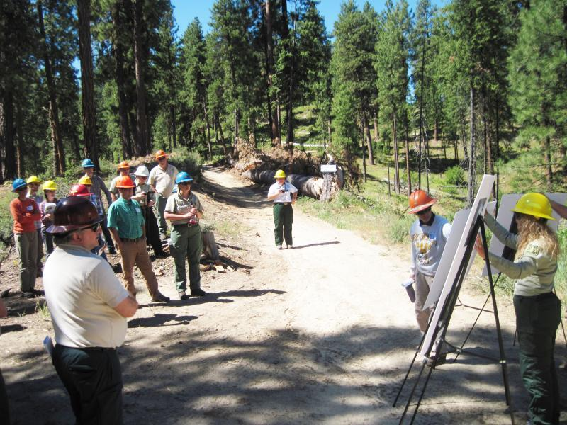 RMRS scientist Terrie Jain recently co-led a fieldtrip with Idaho City District Ranger Brant Petersen to provide stakeholders of the Boise Basin Experimental Forest a glimpse of the past, current, and future research