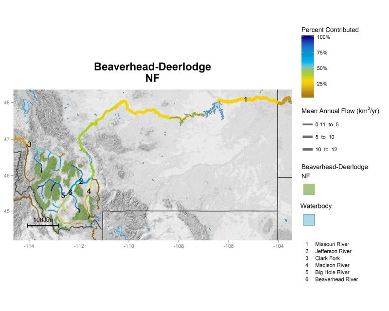Beaverhead-Deerlodge National Forest streamflow contributions