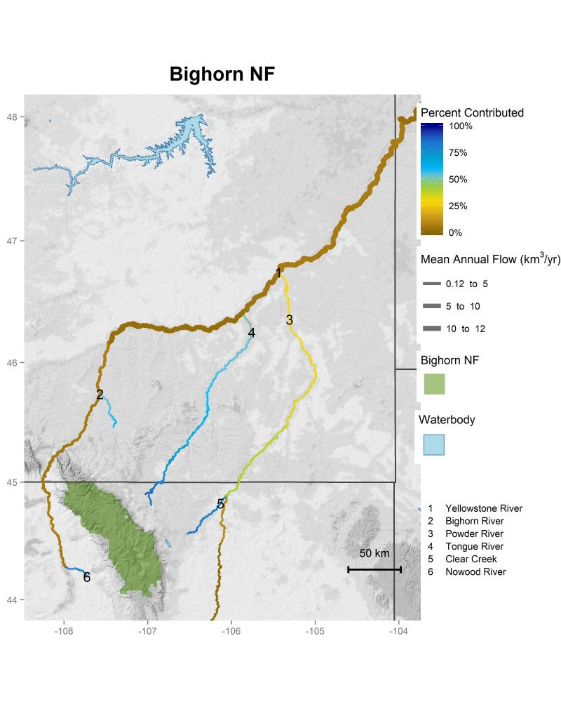 Bighorn National Forest streamflow contributions