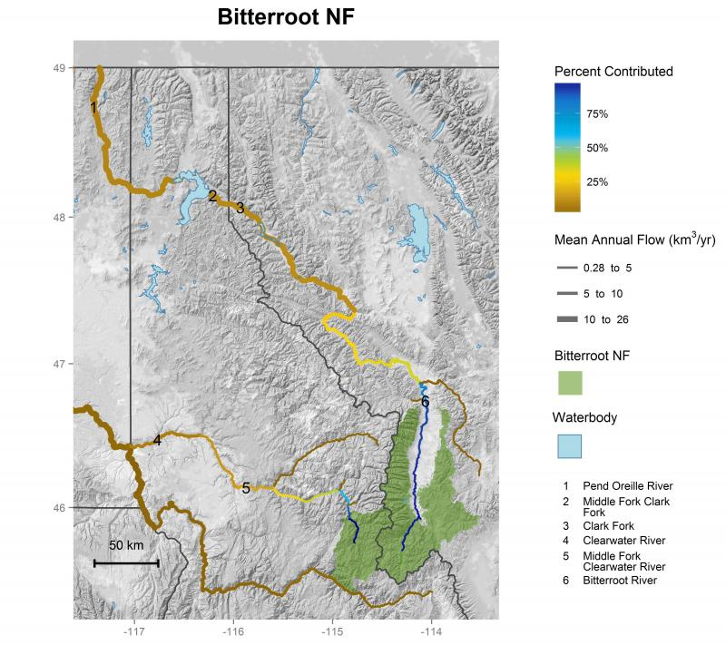 Bitterroot National Forest streamflow contributions