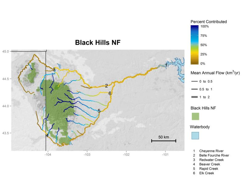 Black Hills National Forest streamflow contributions