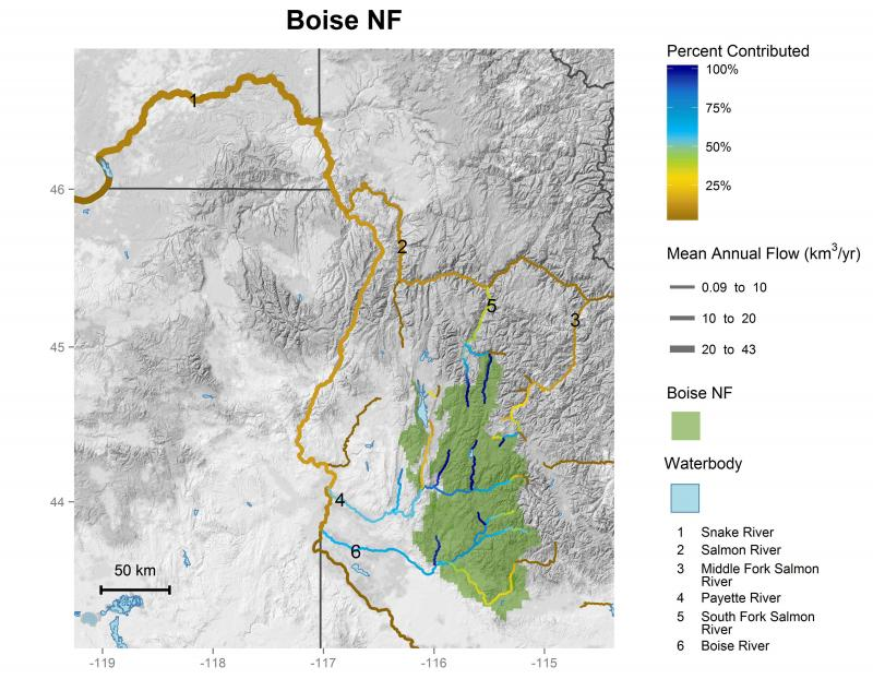 Boise National Forest streamflow contributions