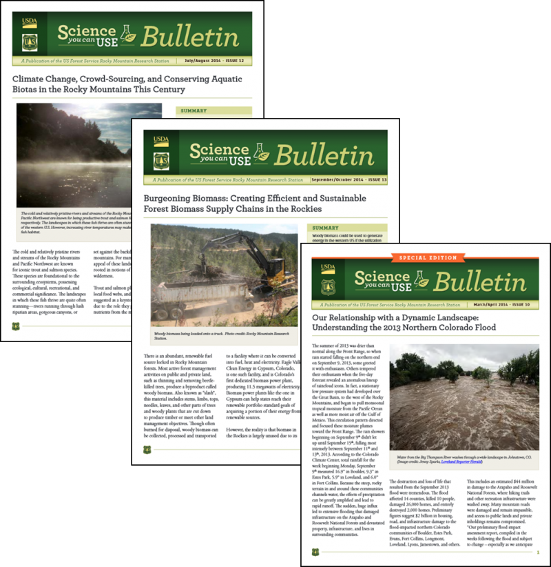 Photo array of covers of the Science You Can Use Bulletin