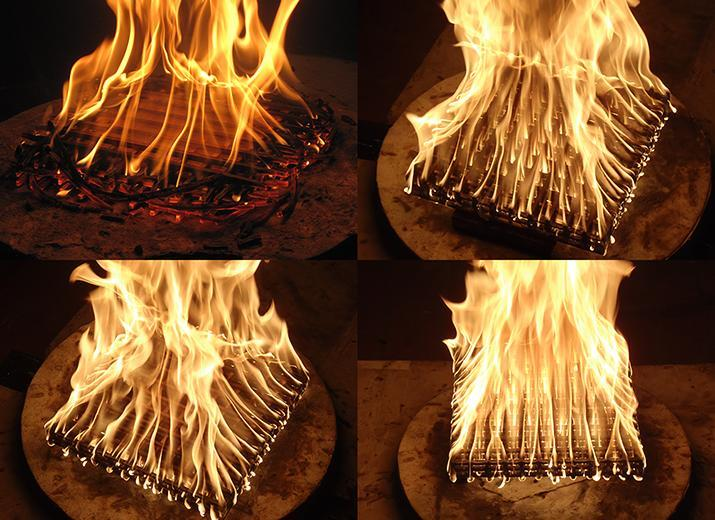 Change in burning regime for a large length-to-thickness ratio crib as the crib-platform spacing increases. Clockwise from top left: no spacing, 1.27 cm (0.5 in) spacing, 7.62 cm (3 in) spacing, and 2.54 cm (1 in) spacing (photos by Sara McAllister).