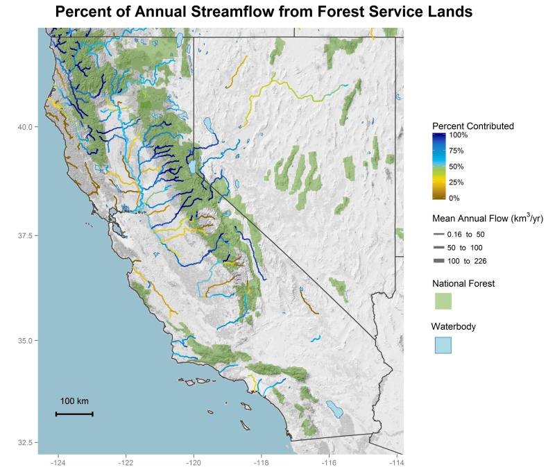 National forest contributions to streamflow in the Pacific Southwest Region