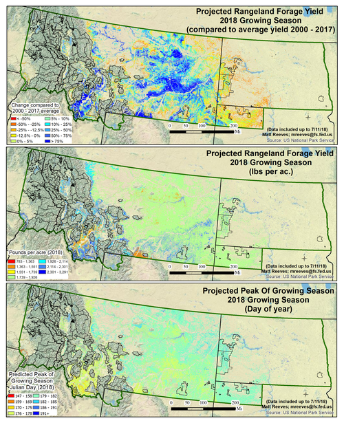 A series of three maps depicting the Projected Rangeland Forage Yield 2018 Growing Season, one showing compared to average yield 2000 - 20017, one showing lbs per acre, and one showing day of year