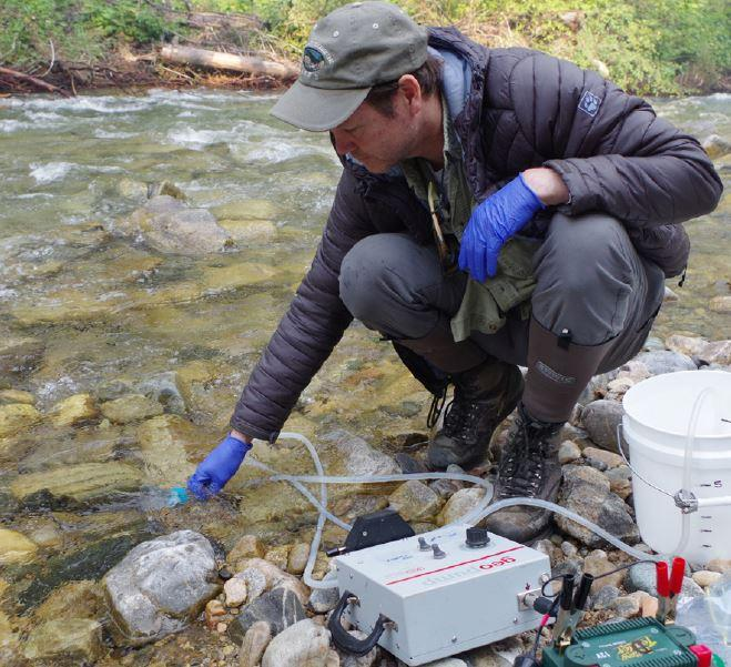 Scientist collecting water