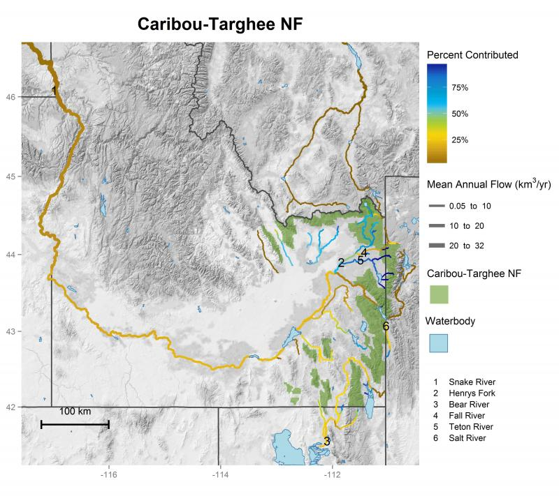 Caribou-Targhee National Forest streamflow contributions