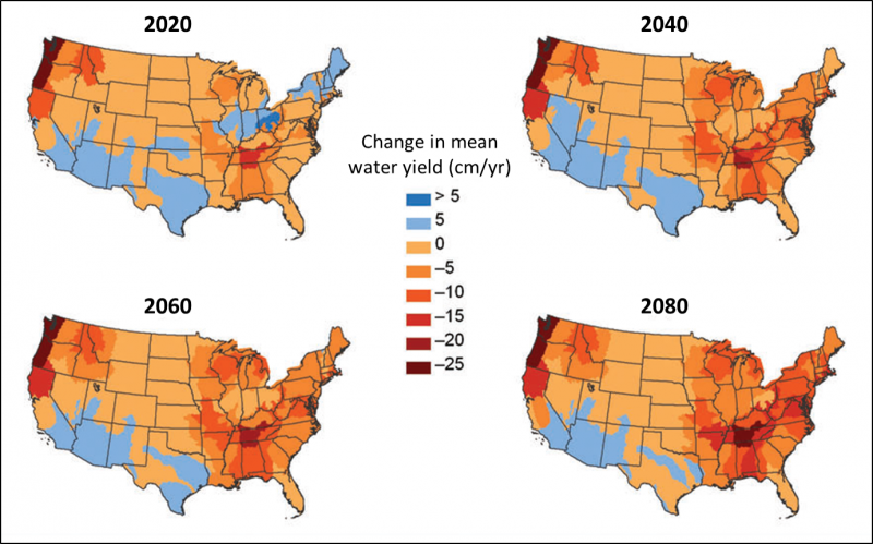 Change from current conditions (2010) in mean water yield (cm/yr) with the A1B-CGCM climate scenario future for 2020, 2040, 2060, and 2080.
