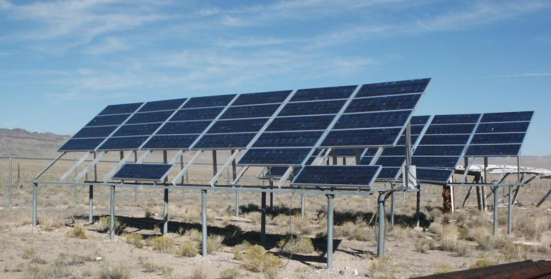 Photo of solar panels at the Desert Experimental Range.