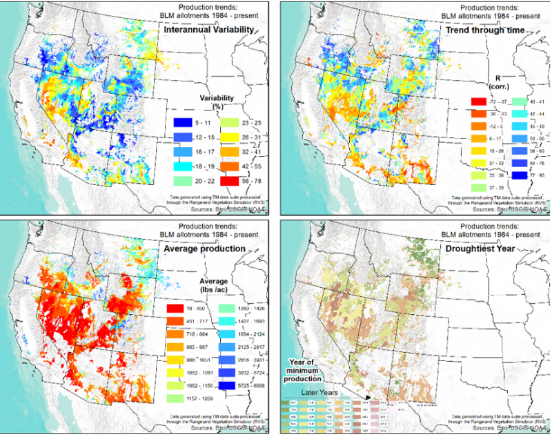Four maps showing BLM lands where significant trends occurred. The upper left shows interannual variability, upper right shows trends through time, the lower left shows average vegetation production, and the lower right shows year of lowest production.