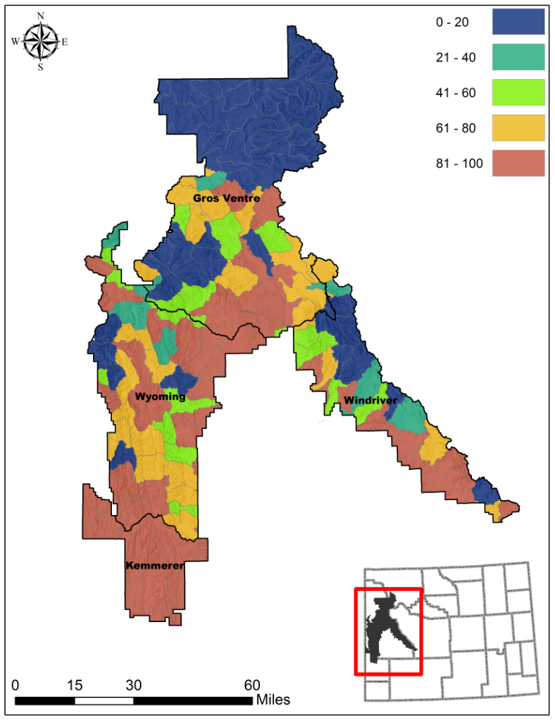 A map showing stressors in each watershed within an active range management unit on the Bridger-Teton National Forest represented by designated colors.