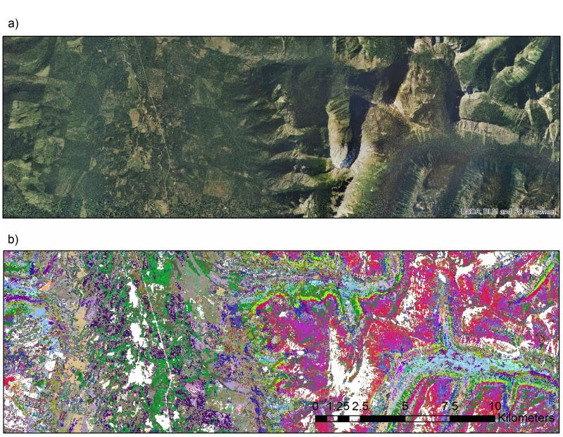 A subset of the landscape in Montana's Swan Valley (top panel). The lower panel shows the plot IDs for the best-matching plot for each pixel of the same landscape, with each color representing a unique plot. In the left half of the imagery, the landscape is dominated by a checkerboard pattern, the legacy of extensive timber harvest on private lands, and less extensive harvest on public lands. On the right side of the imagery, vegetation is dominated by topographic gradients in a mountainous landscape. The model was able to pick up these patterns, with the outline of the checkerboard visible in the left half of the lower panel, and the topographic gradients visible in the clustering of the plots on the right half of the panel.