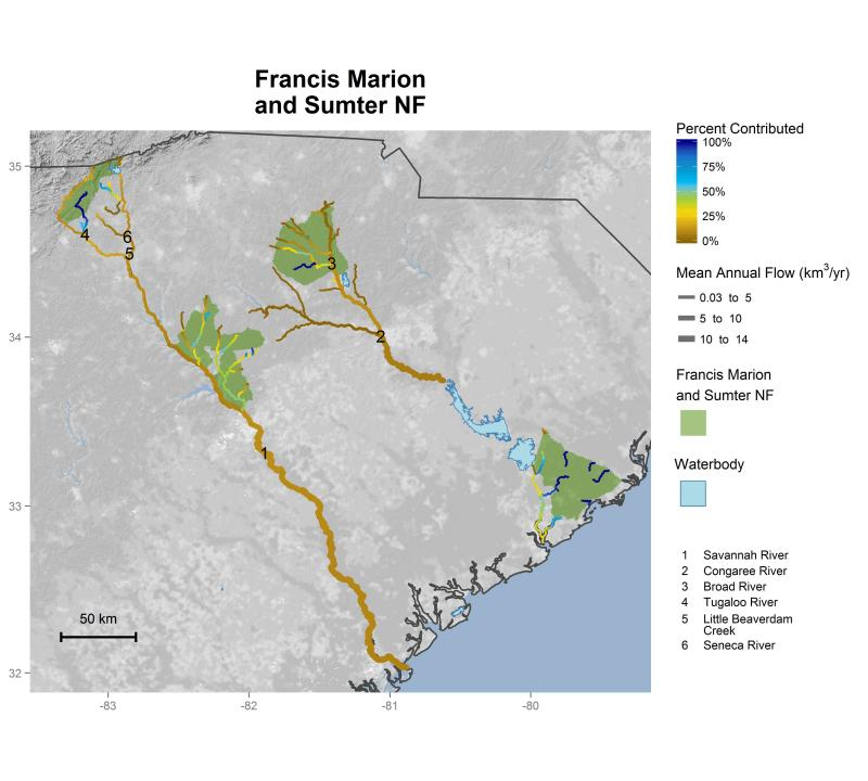Francis Marion and Sumter National Forests streamflow contributions