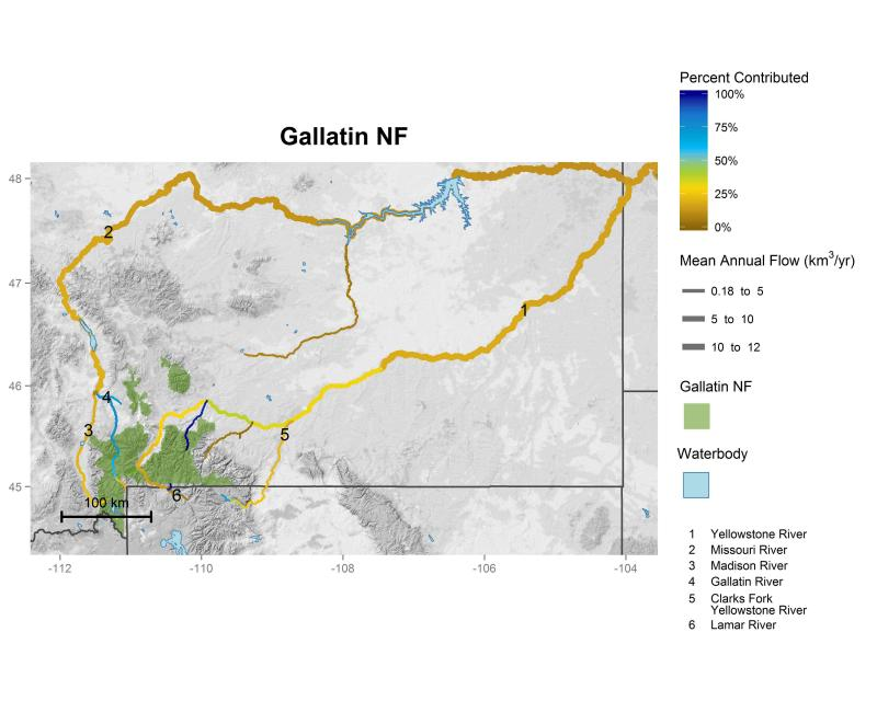 Gallatin National Forest streamflow contributions