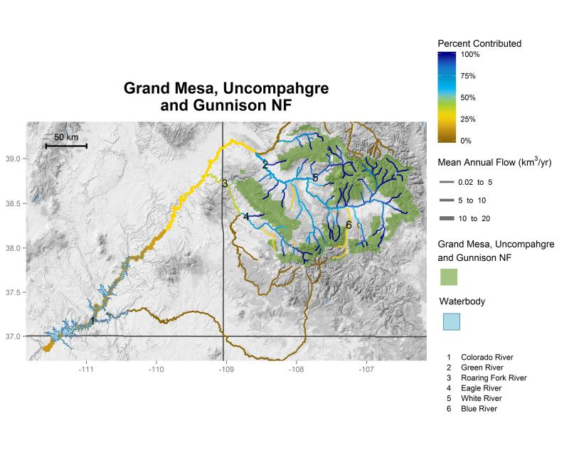 Grand Mesa, Uncompahgre, and Gunnison National Forests streamflow contributions