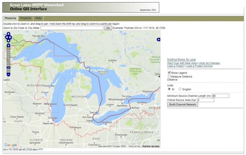WEPP Great Lakes web interface.
